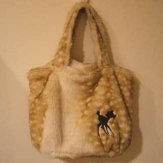 東京迪士尼樂園 Tokyo Disneyland 購入 小鹿斑比 Bambi 溫暖毛毛可愛手提包 手提袋