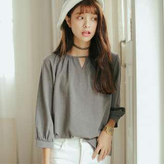 Korean Grey Chiffon Blouse (NEW)