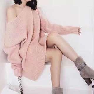 春天的色彩! 粉紅色馬海毛+羊毛混紡連衣裙