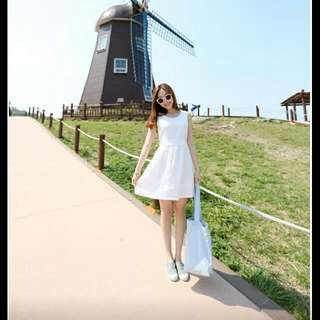 Korean White Cotton Dress (NEW)