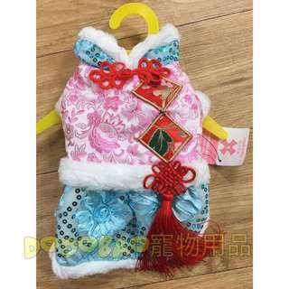 過年喜慶青花瓷復古唐裝帶中國結裙子