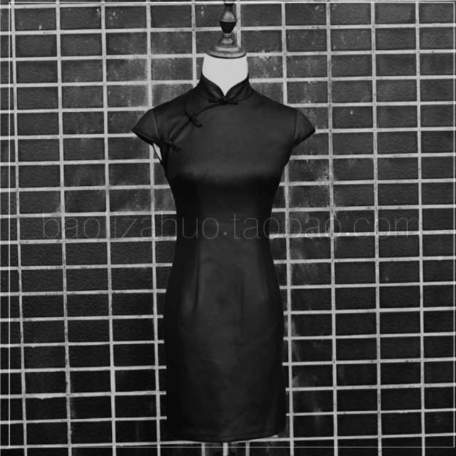 皮製旗袍 全新非常特別有伸縮