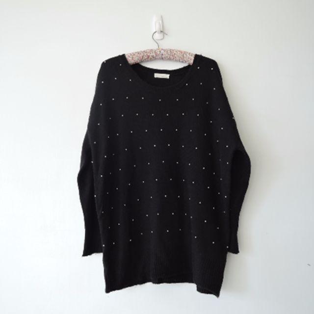 日本少女品牌 小個性釘珠顯瘦黑色長版衣
