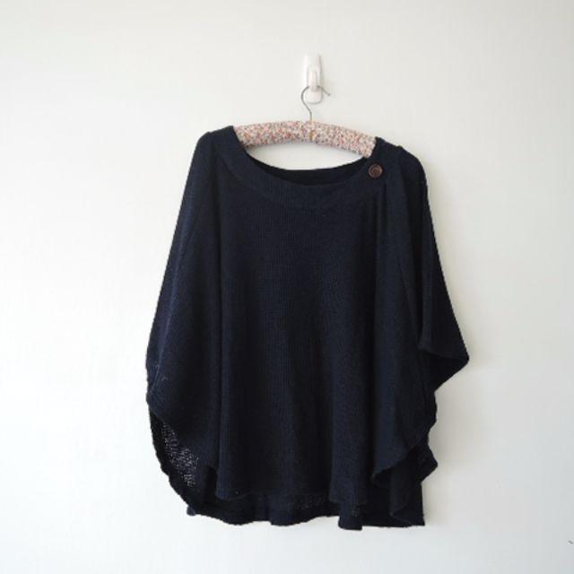 日本少女品牌 湛藍木質小鈕釦設計簡約罩衫斗篷