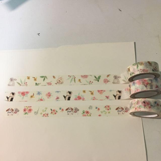 紙膠帶 花與貓咪 花與兔子 花與小狗