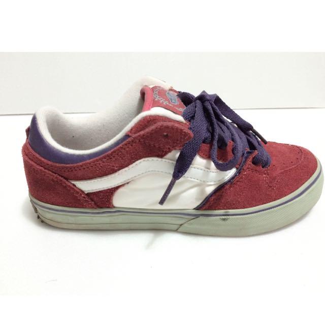二手 Vans 紅白配色麂皮板鞋 Size:37