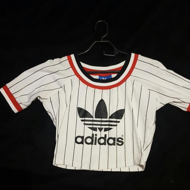 Adidas Striped Crop Tee