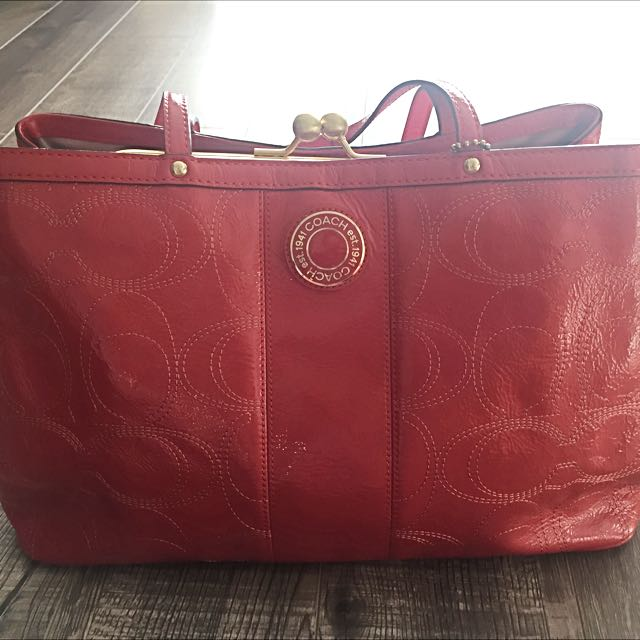 Authentic Coach Signature Coral Handbag