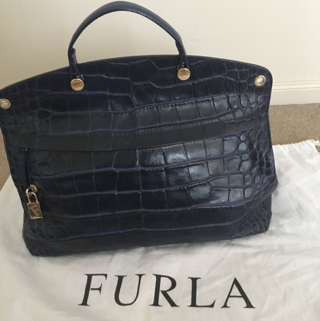 Reduced PRICE- FURLA Piper Croco Stamp Leather Bag