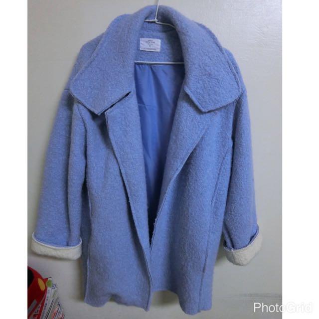 Babe 藍毛呢落肩大衣外套