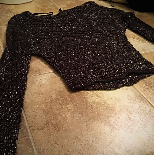 Black And Gold Sparkly Off The Shoulder Sweater Size Extra Small Jessica Simpson Collection