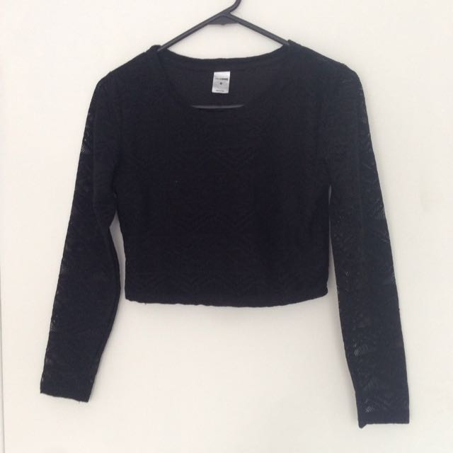 Black Lace L/sleeve Crop