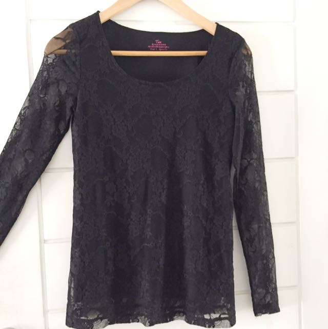 Black long transparent sleeves shirt