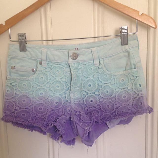 Blue & Purple Floral Denim Shorts ALLY