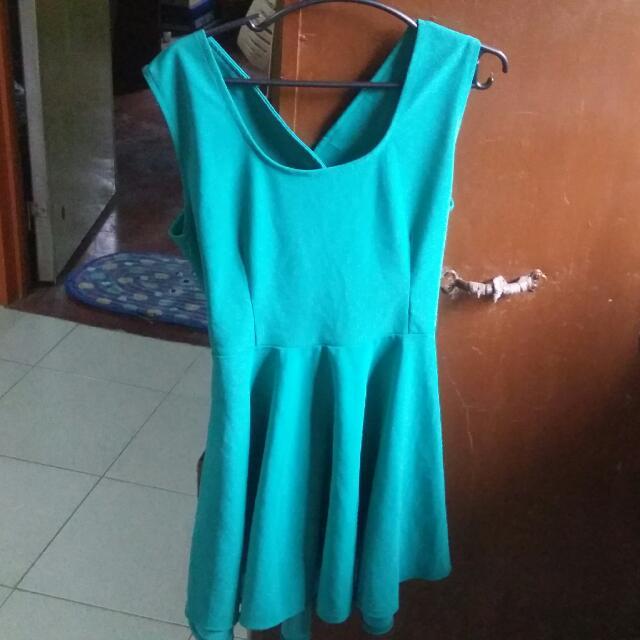 Blue Green Skater Dress