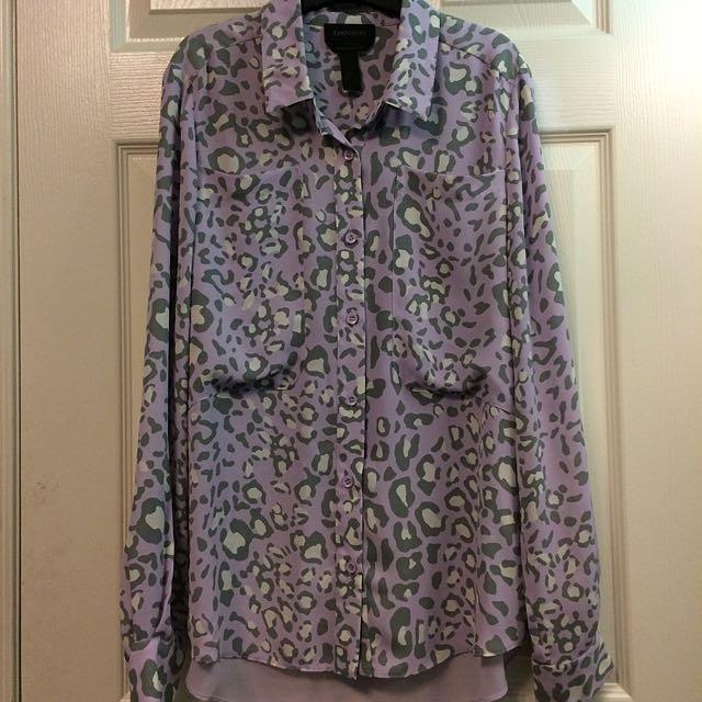 DANIER Cheetah Print Dress Shirt