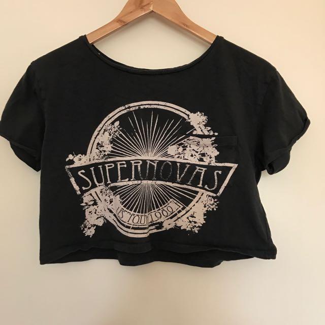 Dark Grey Tshirt Crop From Top shop US 2 UK 6