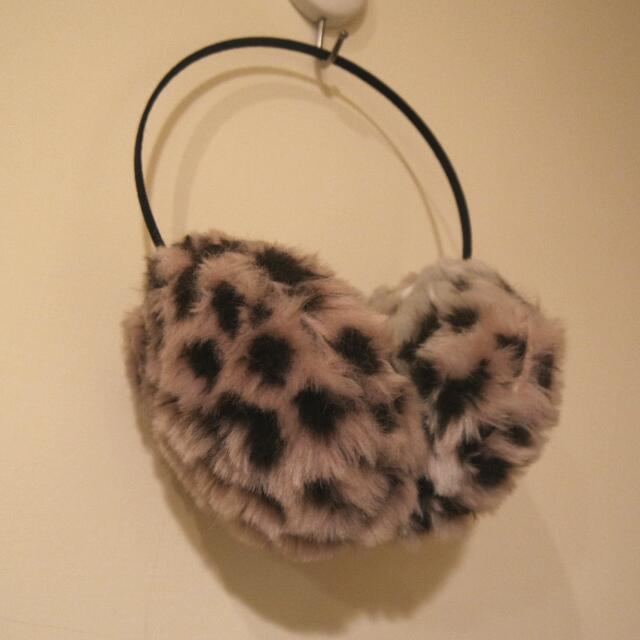 Fashion時尚可愛粉紅豹紋暖呼呼耳罩