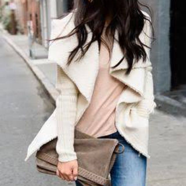 Faux Shearling Knitted Cardigan