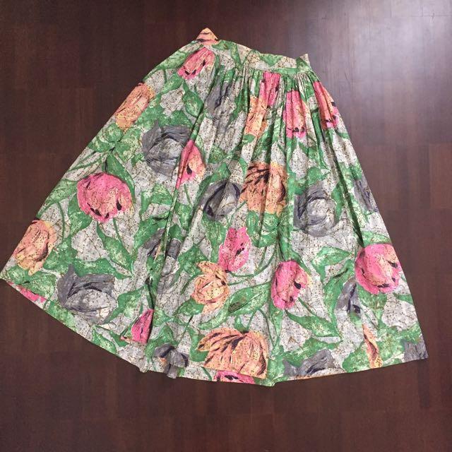 Floral Skater Midi Skirt