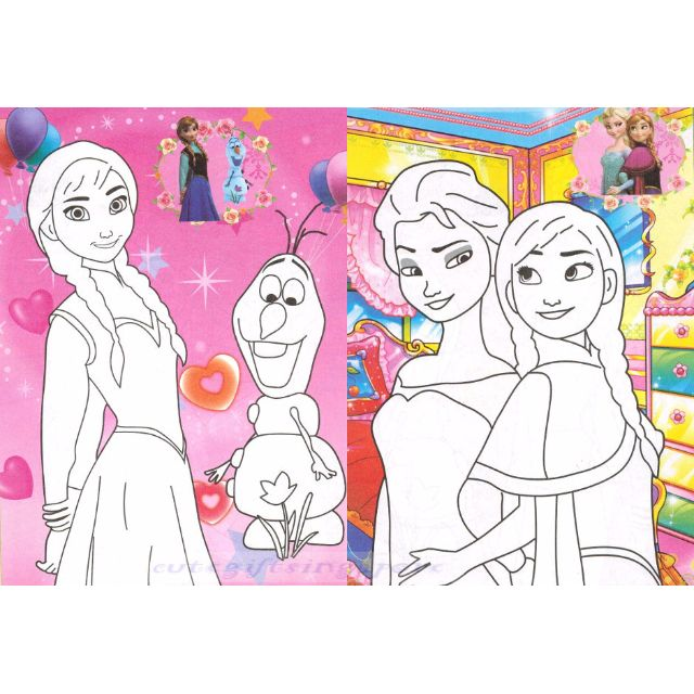 Frozen coloring book colouring book with stickers colored background  children book children gift goodie bag