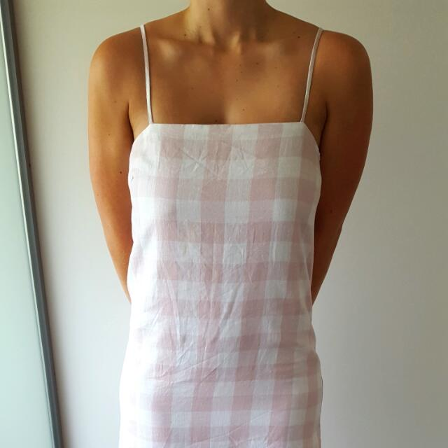 Gingham Print Pink And White Dress