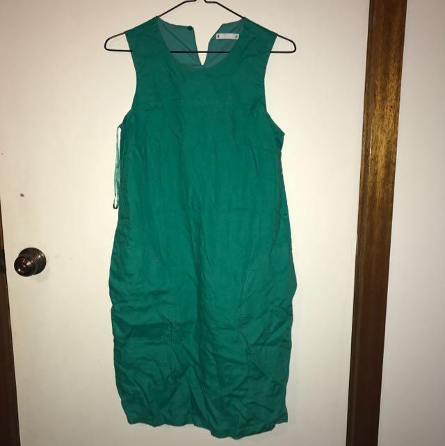 Green Dress W Pockets