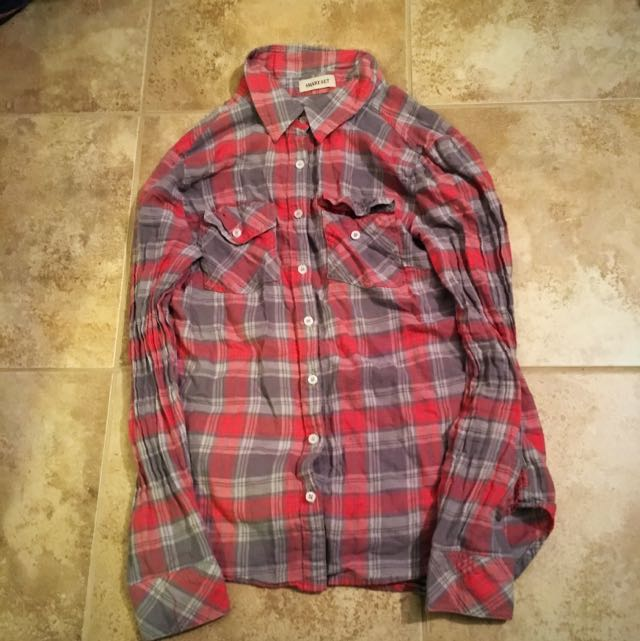 Grey And Red Cute Flannel Size Small