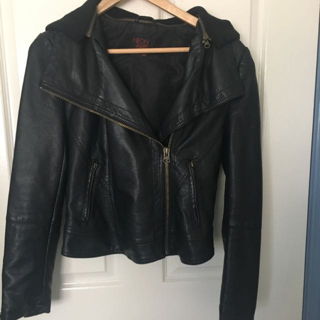 Leather Jacket, Neon Hart Size Small