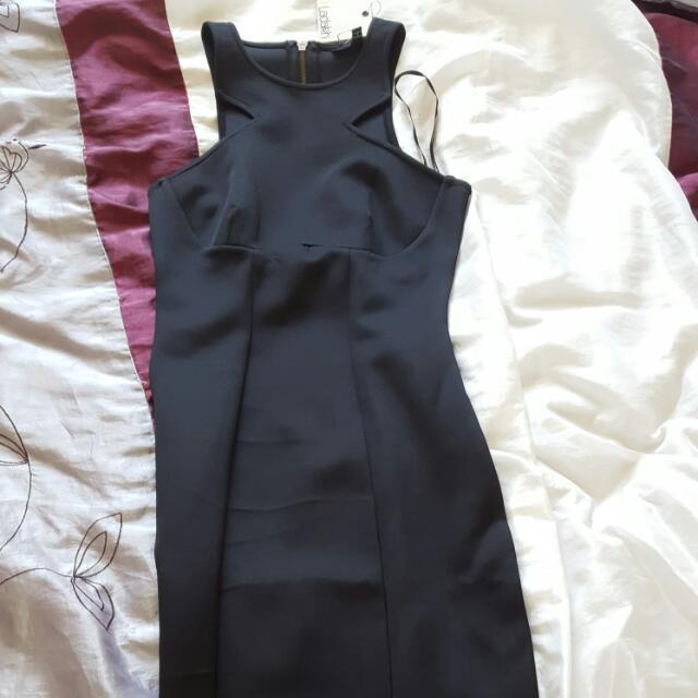Mid Length Black Tight Dress