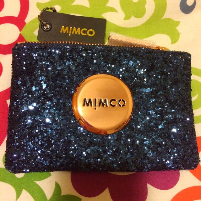 Mimco Pouch Prussian Blue Tiny Sparks Holographic Small Rose Gold