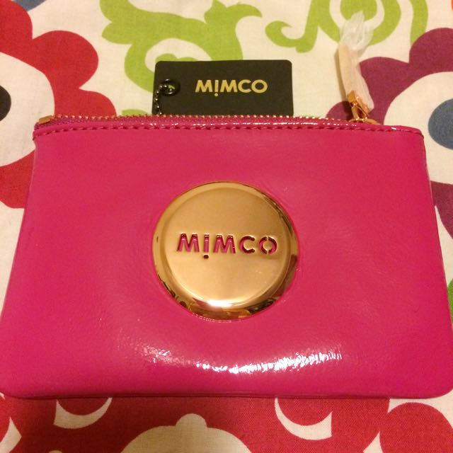 Mimco Schiaparelli Pink Pouch Rose Gold Patent Leather