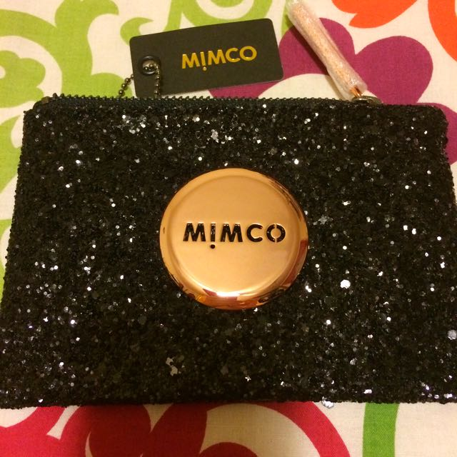 Mimco Rose Gold Tiny Black Sparks Small Glitter Pouch