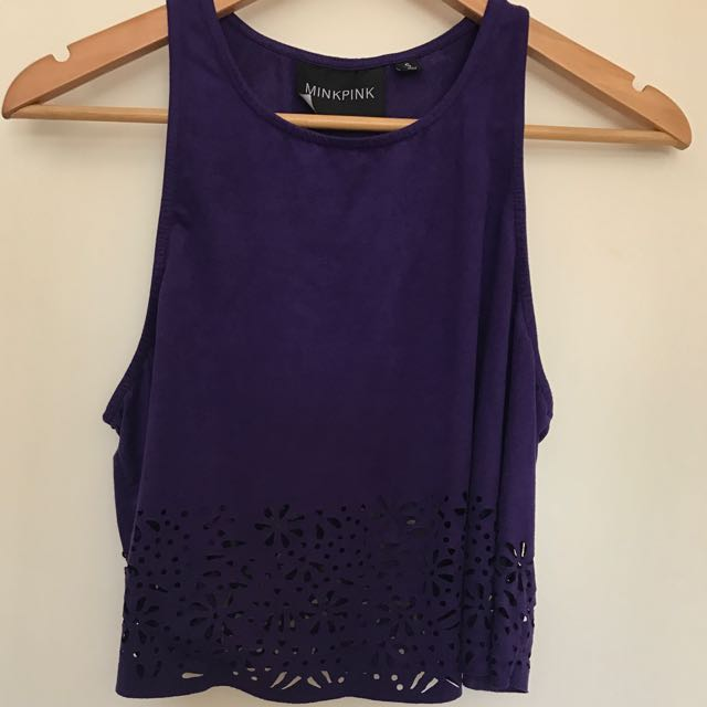 Minkpink Purple Crop Top With Laser Cut Flowers Size Small