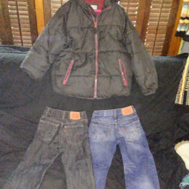 Old Navy Coat And Levis For The Boy Sz Med And 6
