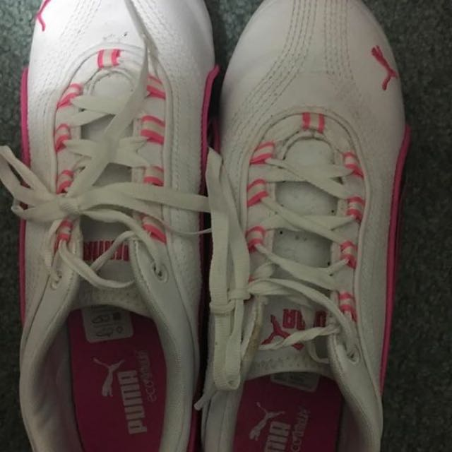 Pink And White Puma Shoes