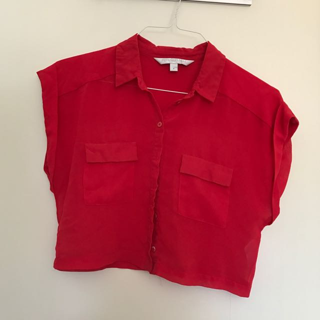 Red Sheer Crop Top Forever New Size 8