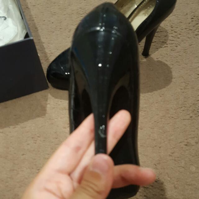 RMK Black Patent Leather Crocodile Heels Size 6