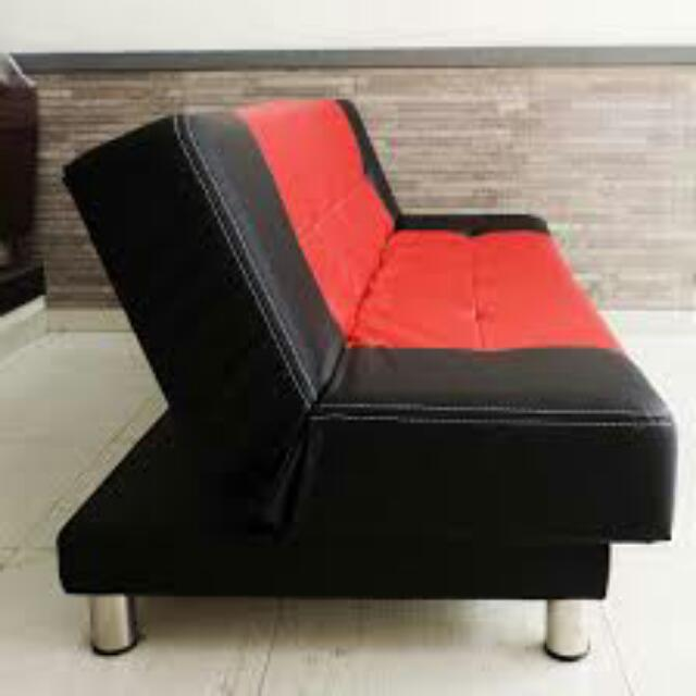 Sofa Bed Merah Hitam Kulit Oscar Super Home Furniture On Carousell