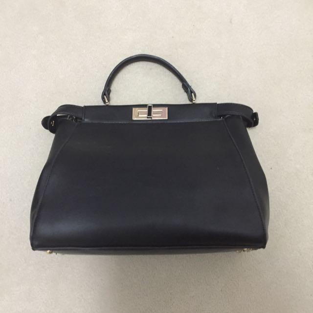 Structured Black Handbag
