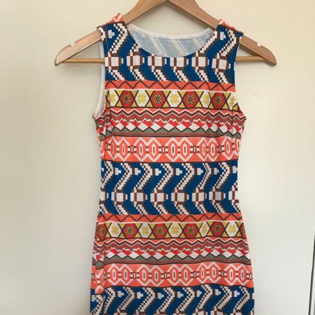 Tight Tribal Print Dress Size 6/8