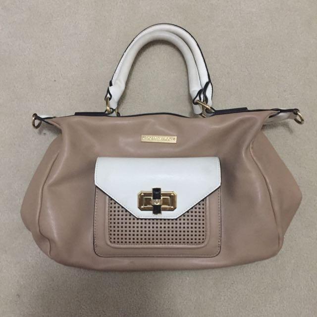 Tony Bianco Nude And White Handbag