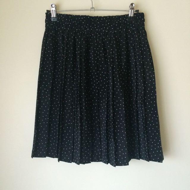 Vintage Pleated Polka Dot Skirt
