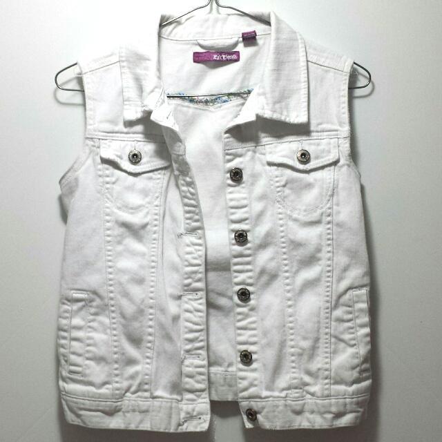 White Jean Vest
