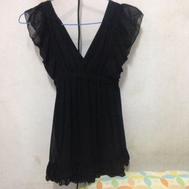 Yellowline Black Minidress