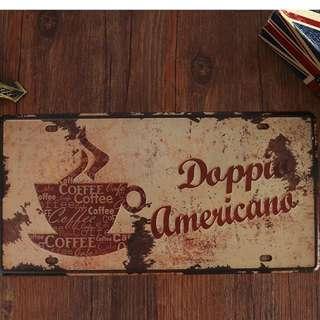 🚚 復古鐵皮車牌一咖啡店