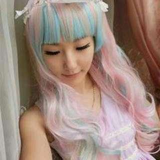 Rainbow Bubblegum Lolita Princess Wig
