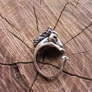 Silver Horse Adjustable Animal Wrap Ring