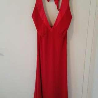 Stunning Red Halter Neck Dress