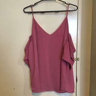 Glassons Size 14 Pink Cold Shoulder Blouse